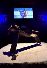 A piece of steel from the World Trade Center on display in the Freedom Chapel at the National Health and Public Safety History Museum in Dublin March 14.