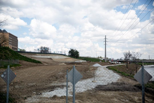 Construction of the Lauridsen Skatepark is underway, on Sunday, April 26, 2020 in downtown Des Moines. What will be the nation's largest skatepark is expected to be completed in the fall.