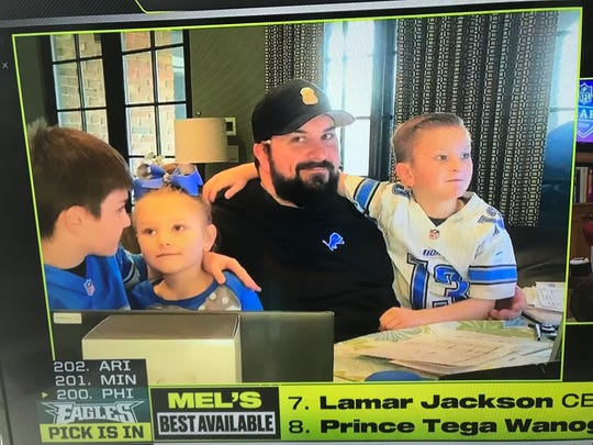 Detroit Lions coach Matt Patricia with his family at home during the 2020 NFL draft.