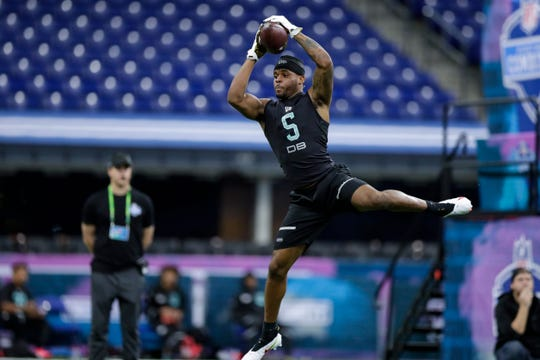 Mississippi State defensive back Brian Cole II runs a drill at the NFL football scouting combine in Indianapolis, Sunday, March 1, 2020.