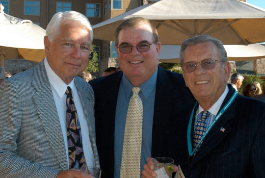 Larry Adderley, left, with fellow Michigan broadcasting icons Jim Brandstatter, center, and Ray Lane.
