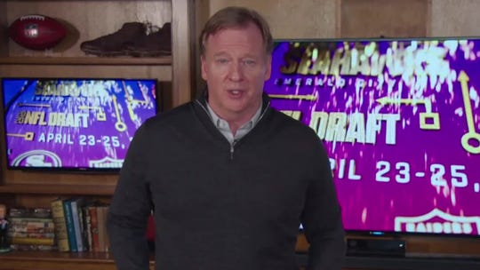 In this still image from video provided by the NFL, Commissioner Roger Goodell speaks during the draft on Friday.
