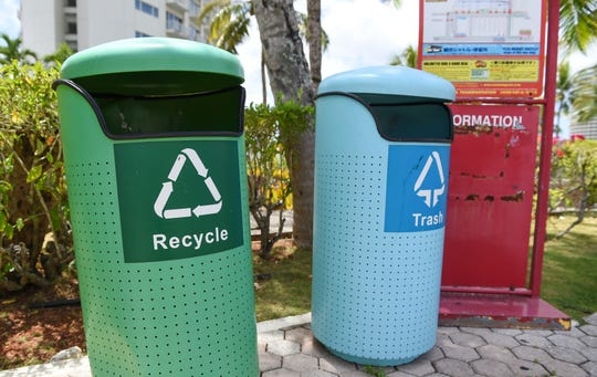 A Tumon recycle and trash bin on April 26, 2020.