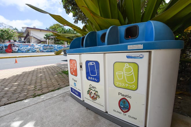 Waste Separation bins at the Guam Visitors Bureau in Tumon on April 26, 2020.