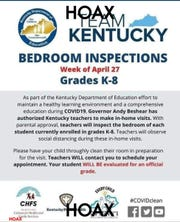 A hoax social media post warned that Kentucky teachers would be conducting 'bedroom inspections' of students.
