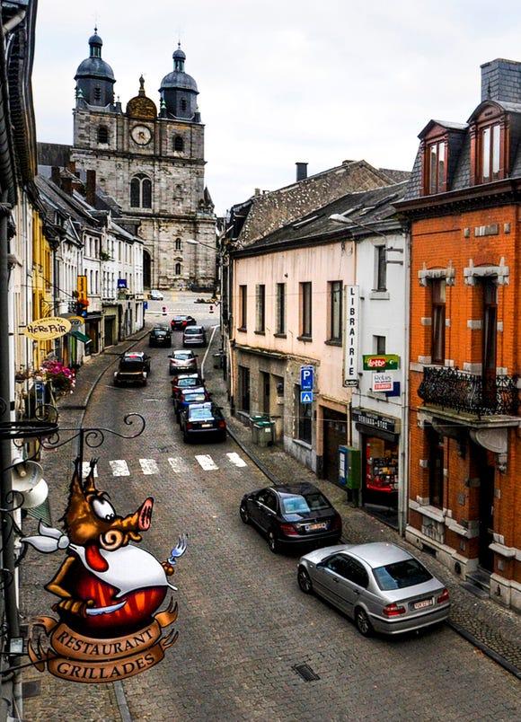 Our view of the main street  in Saint-Hubert, Belgium.