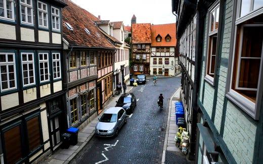The cobblestone streets of Quedlinburg, Germany.