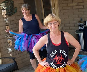 My tap teacher Regina Pryor can't wait to teach her tap class – her whole class, not just me and Rhonda, wearing tutus and spaced 10 feet apart on the driveway – and go shopping.
