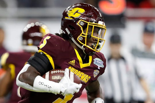 Dec 7, 2019; Detroit, MI, USA; Central Michigan Chippewas running back Jonathan Ward (5) runs the ball against the Miami Redhawks during the first quarter in the MAC Championship game at Ford Field. Mandatory Credit: Raj Mehta-USA TODAY Sports