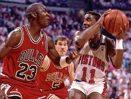 Isiah Thomas and the Pistons eliminated Michael Jordan and the Bulls from the playoffs three straight years (1988-90).