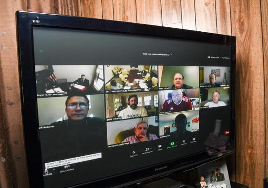 Anderson City Council meeting in the opening minute Monday, April 27, 2020 seen on local access Spectrum channel 192 in Anderson, their first ever virtual meeting.