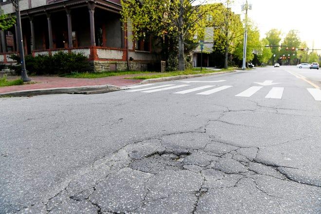 Potholes have begun to develop in Asheville's Biltmore Village.