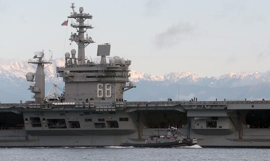 The USS Nimitz departs Naval Base Kitsap-Bremerton on Monday, April 27, 2020.