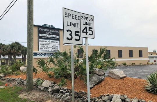 Sunday afternoon, a new 35 mph speed limit sign was visible on State Road A1A near Grant Avenue in Satellite Beach. The new signs are now covered.