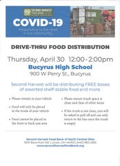 Second Harvest Food Bank will distribute 500 boxes of food from noon to 2 p.m. Thursday at Bucyrus High School.