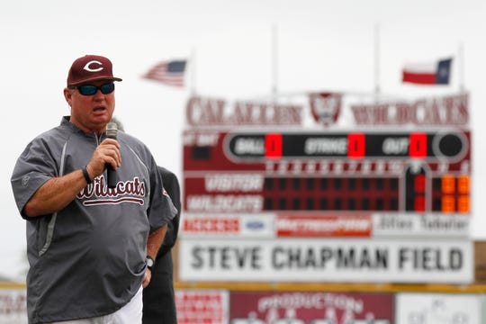 Calallen baseball coach Steve Chapman offers his thanks Saturday, April 27, 2013 during a ceremony officially naming the high school baseball field in his honor.
