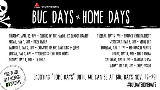 The Buccaneer Commission announced the BucDays HomeDays virtual event starting April 30 to May 10. The virtual event includes musical performances, the dunking of the mayor, and the crowning of Buc Days king and queen.