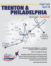 The flight path for South Jersey/Philadelphia portion of the Blue Angels and Thunderbirds joint flyover scheduled for Tuesday, April 28.