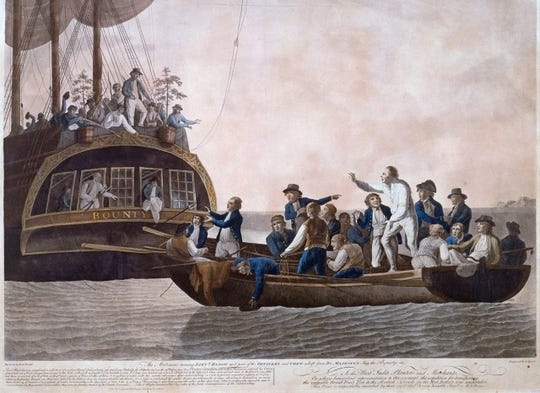 Fletcher Christian and the mutineers on the HMS Bounty sent Lieutenant William Bligh and 18 others adrift in this 1790 painting by Robert Dodd.