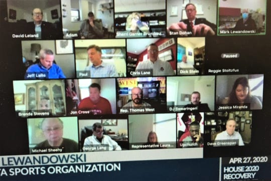 Mark Lewandowski, upper right corner, testifies at virtual meeting of thee Ohio Economic Recovery Task Force April 27, 2020.
