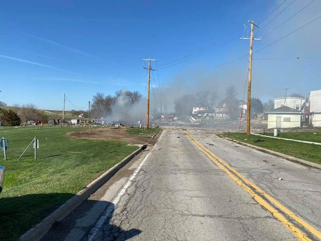 Two people were injured in a gas station explosion in Earling Mon. April 27, 2020.