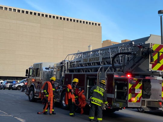 A cooking fire in a 14th floor unit at The Parker apartments in downtown Des Moines was quickly contained and put out Sunday, April 26, 2020, according to the Des Moines Fire Department.