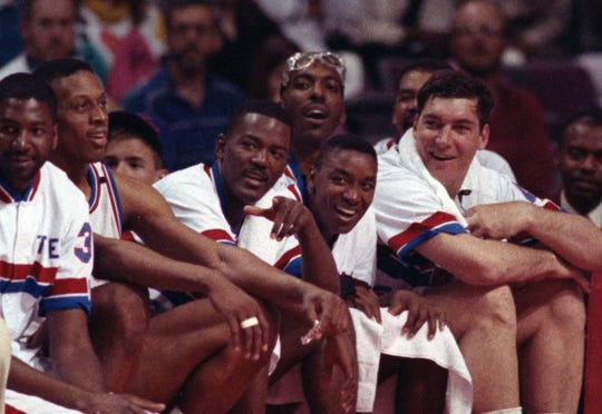 (From left) Pistons Dennis Rodman, Joe Dumars, John Salley, Isiah Thomas and Bill Laimbeer on the bench on May 5, 1991, near the end of Game 5 of the Eastern Conference quarterfinals against the Hawks at the Palace.