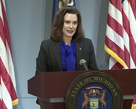 Gov. Gretchen Whitmer speaks on Monday, April 27.