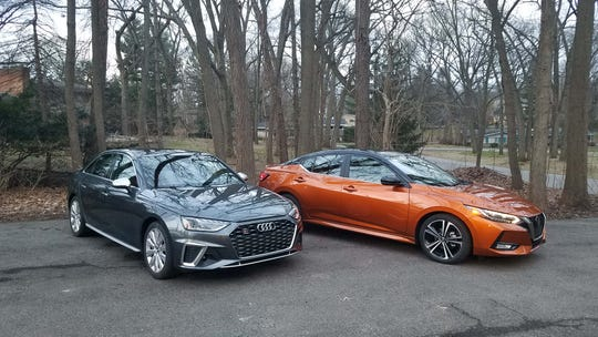 The $25,000 Sentra SR is so good looking it compares well to a $63,000 Audi S4, left.