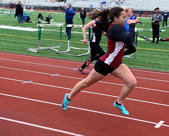 Elmira High School senior Kaylie Wilson competes at the 2019 Waite-Molnar Invitational at Ernie Davis Academy.