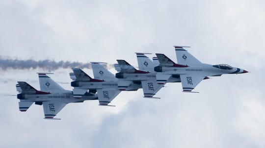 """""""Wings Over Charlotte Harbor,"""" a free performance planned for Oct. 24-25 by the Florida International Air Show, was canceled because of lack of funding. Shown here, the U.S. Air Force Thunderbirds demonstration team performs at the 38th annual air show in November 2019."""