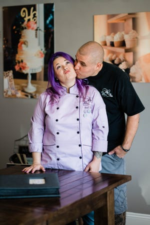 """Bess and Jeff Charles have co-owned the bakery since 2014. """"Cupcake and cookie sales are up,"""" Bess said. """"They're up a lot. I'm glad we extended free delivery, even though we're working twice as hard."""""""