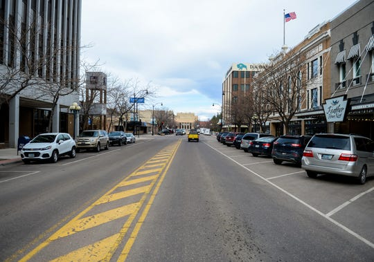The 300 block of Central Avenue in downtown Great Falls, April 27, 2020.