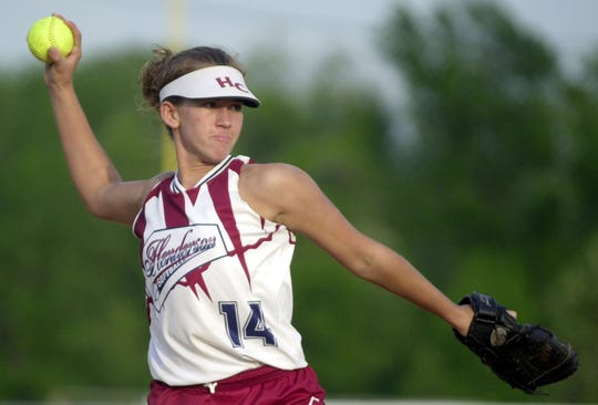 Henderson County pitcher Nikki Nichols makes a throw to first base during a game against Caldwell County at North Field Tuesday night, May 1, 2001.