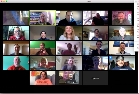 New Roots Charter School staff using Zoom for a staff meeting.