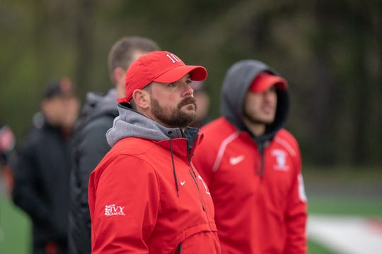 Peter Milliman coaches the Cornell men's lacrosse team against Princeton at Schoellkopf Field in Ithaca on April 27, 2019.