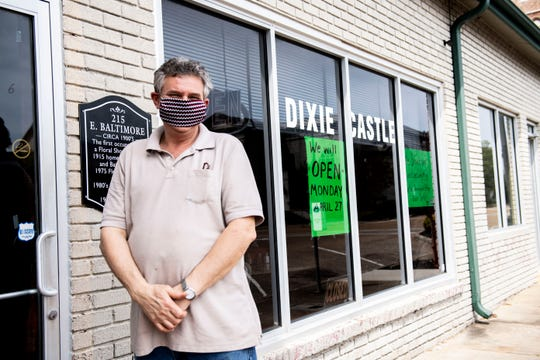 Mark Hudgens, owner of Dixie Castle, opens the restaurant, Monday, April, 27, 2020  after a month of doing take out due to the novel coronavirus in Jackson, Tenn.