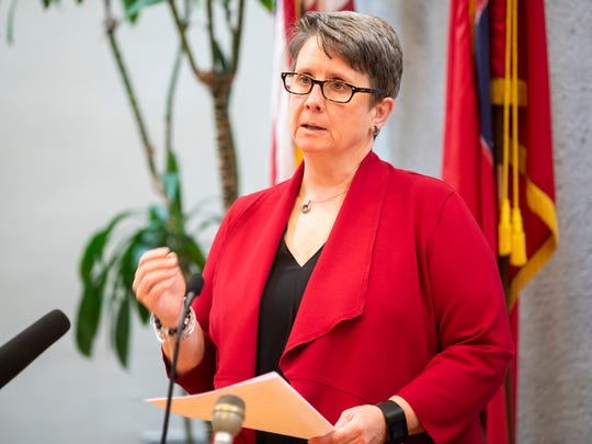 Knox County Health Department Director Dr. Martha Buchanan speaks during a press conference at the City County Building in downtown Knoxville on Monday, April 27, 2020.