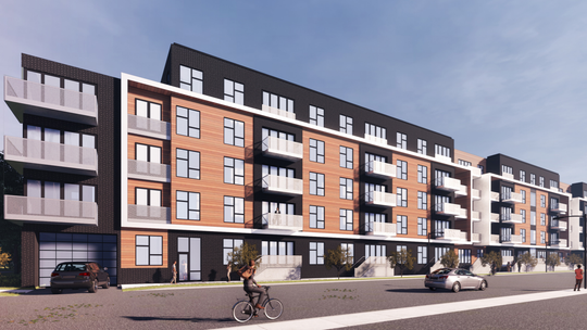 A rendering of the 114-unit St. Paul Apartment complex developed by Mandel Group.