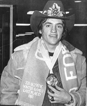 Mark Johnson poses with his gold medal in 1980.