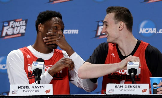Wisconsin's Nigel Hayes and Sam Dekker have some fun during a news conference before NCAA championship game in 2015.