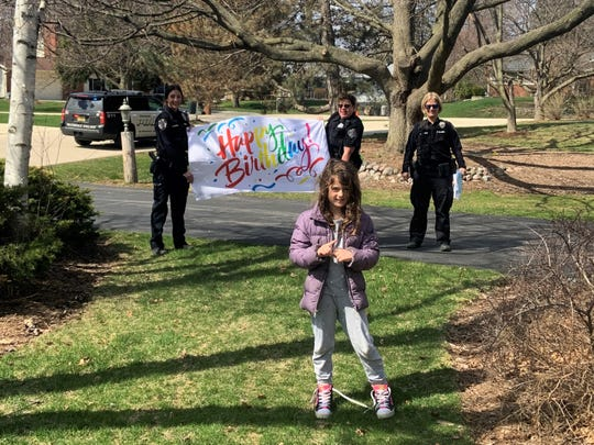 Kassandra Gilman celebrated her sixth birthday with Glendale police officers April 16. In lieu of birthday parties, Glendale and other local police departments are helping kids celebrate from a distance during the coronavirus pandemic.