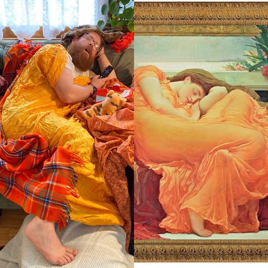 """Tommy Vandervort posed as the painting """"Flaming June"""" from the comfort of his living room."""
