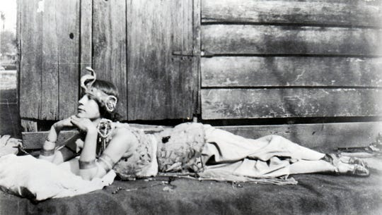 Mildred Kingsbury appearing as Cleopatra in a play in the late 1920's.
