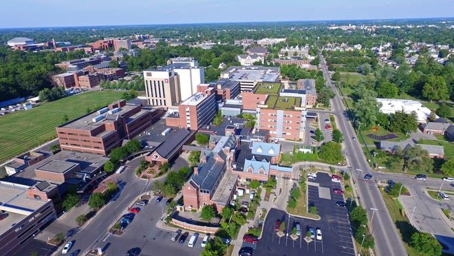 An aerial shot of IU Health Ball Memorial Hospital.