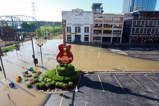 Floodwaters fill downtown Nashville on May 3, 2010.