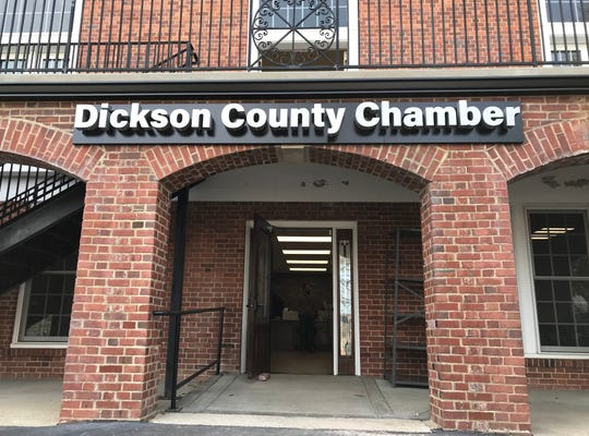 The Dickson County Chamber of Commerce offices at the War Memorial Building in Downtown Dickson