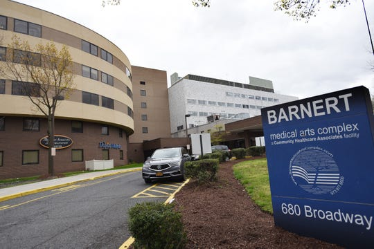 An exterior photo of the former Barnert hospital in Paterson, photographed on April 27, 2020. This building is being reopened because of COVID-19 space needs.