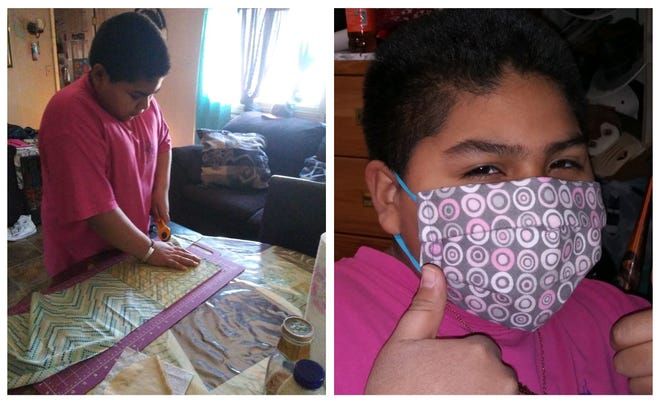 Anthony Gomez, a 6th grader at Sunrise Elementary in Chaparral, is by producing masks for the community and his family members.