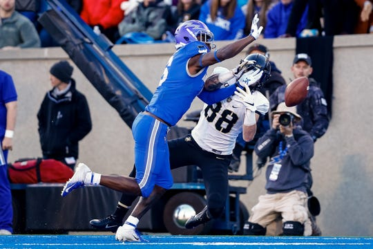 Air Force Falcons defensive back Zane Lewis (6) knocks away a pass intended for Army Black Knights wide receiver Camden Harrison (88) in the fourth quarter at Falcon Stadium last season.